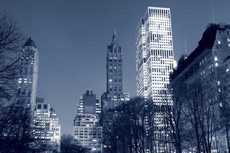 Central Park and manhattan skyline at night, New York City Фото со стока