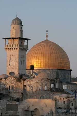 The Temple Mount in Jerusalem, including the golden Dome of the Rock Imagens