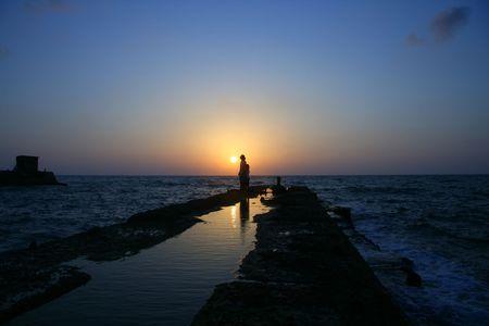 La fin de la journ�e, Coucher de soleil sur la mer