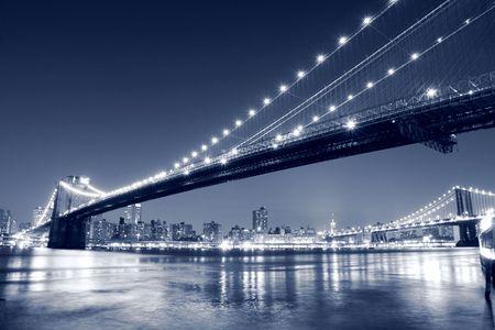 Brooklyn Bridge and Manhattan skyline At Night Stock Photo - 4679633