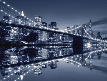 Pont de Brooklyn et Manhattan skyline At Night Banque d'images - 4690267