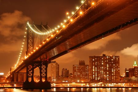 Manhattan Bridge and Manhattan skyline At Night Stock Photo - 4900596
