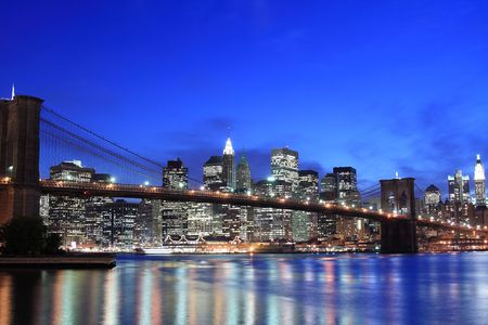 Brooklyn Bridge and Manhattan skyline At Night, New York City Stock Photo - 4900600