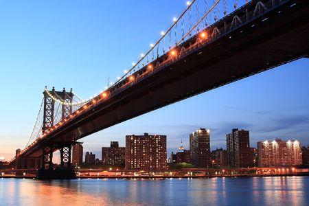 Manhattan Bridge and Manhattan skyline At Night Stock Photo - 4900598