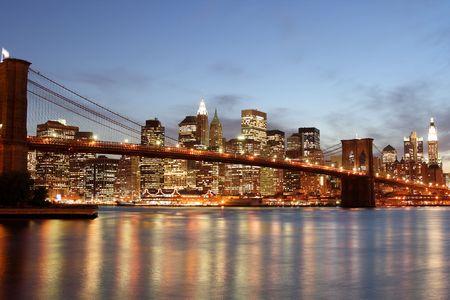 Brooklyn Bridge and Manhattan skyline At Night, New York City Stock Photo - 4900602