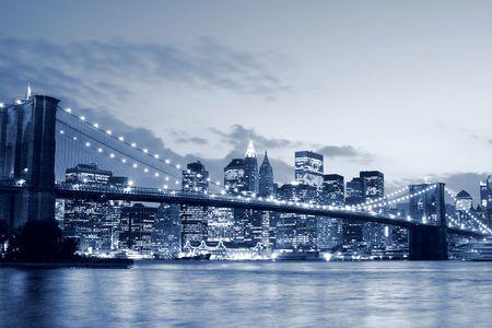 Brooklyn Bridge and Manhattan skyline At Night Stock Photo - 5057817