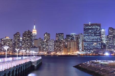 Midtown Manhattan skyline At Night Lights, NYC Stock Photo - 5057812