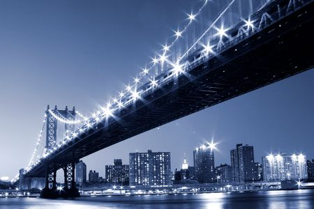 Manhattan Bridge and Manhattan skyline At Night Lights, NYC  Stock Photo - 5501504