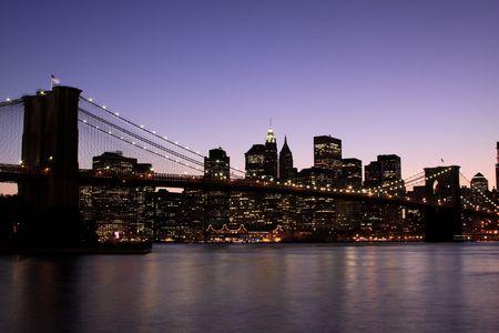 Brooklyn Bridge and Manhattan skyline At Night, New York City  Stock Photo - 5559762