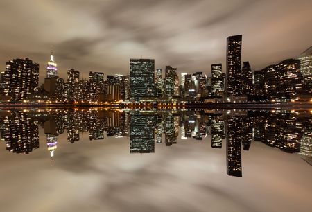 city park skyline: Midtown Manhattan skyline At Night Lights, NYC  LANG_EVOIMAGES