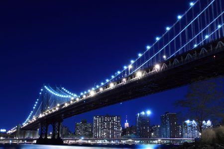 Manhattan Bridge and Skyline At Night, New York City  Stock Photo - 5926311