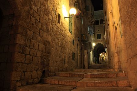 archäologie: Jerusalem alten City Walls at Night, Israel LANG_EVOIMAGES