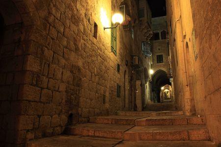 Oude stad wanden op nacht, Israël Jeruzalem Stockfoto - 6095021