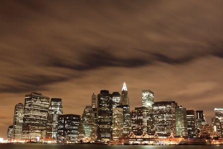 New York City skyline at Night Lights 写真素材