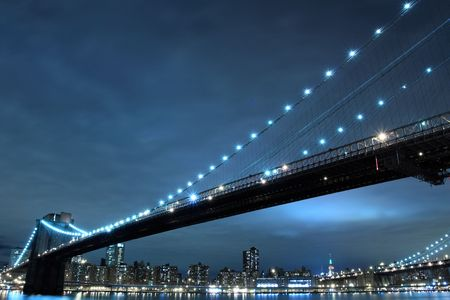 Brooklyn Bridge and Manhattan Skyline At Night, New York City Stock Photo - 6270706
