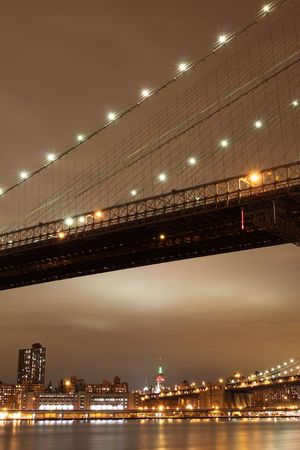 Brooklyn Bridge and Manhattan Skyline At Night, New York City Stock Photo - 6270709