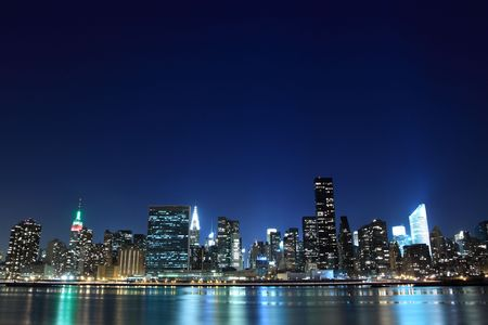 new york night: The Empire State Building and New York City skyline