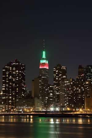 The Empire State Building In Christmas Lights And New York City ...