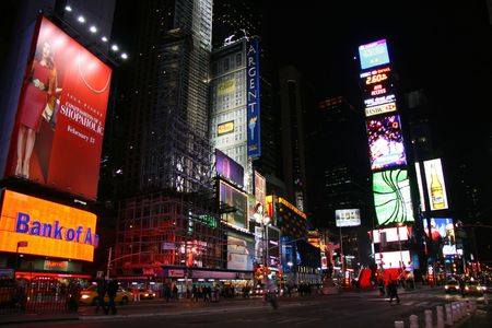 Times Square at Night, New York City-Junuary 12, 2009