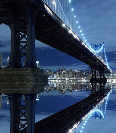 seaport: New York City Skyline and Manhattan Bridge At Night  LANG_EVOIMAGES