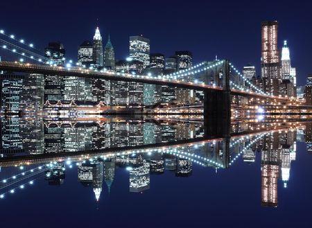 Brooklyn Bridge and Manhattan Skyline At Night, New York City Stock Photo - 6609504