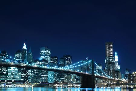 Brooklyn Bridge and Manhattan Skyline At Night, New York City Stock Photo - 6834704