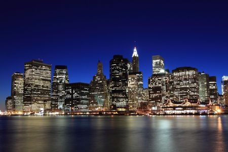 Manhattan Skyline At Night, New York City  Stock Photo - 6834701