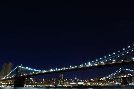Brooklyn Bridge and Manhattan Skyline At Night, New York City  Stock Photo - 6834697