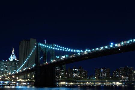 Brooklyn Bridge and Manhattan Skyline At Night, New York City Stock Photo - 6834698