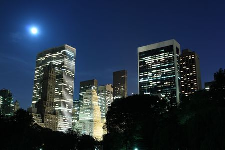Manhattan Skyline and Central Park at Night, New York City Stock Photo - 7086525