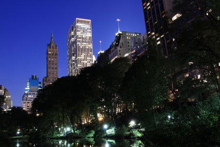 Manhattan Skyline and Central Park at Night, New York City Stock Photo - 7086526