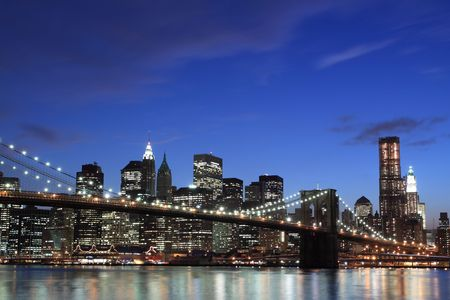 Brooklyn Bridge and Manhattan Skyline At Night, New York City  Stock Photo - 7086548