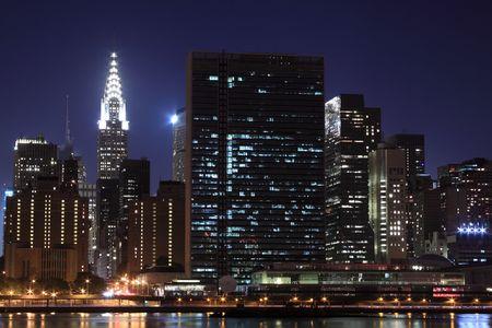 New York City skyline at Night Lights, Midtown Manhattan