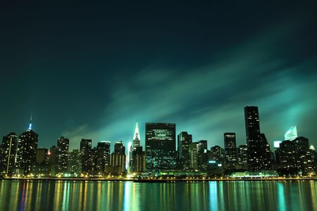 Midtown Manhattan skyline at Night Lights, NYC LANG_EVOIMAGES