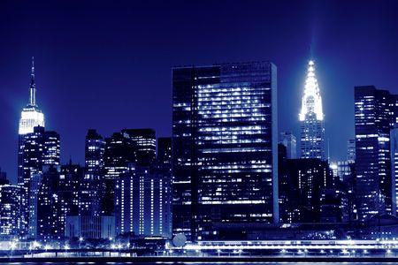 Midtown Manhattan skyline at Night Lights, New York City  Stock Photo