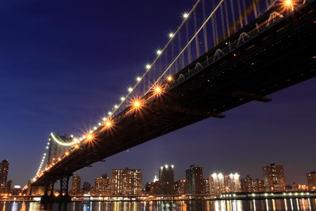 New York City Skyline and Manhattan Bridge At Night  Stock Photo - 9073829