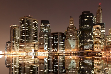View of Manhattan Skyline from Brooklyn At Night, New York City  Stock fotó