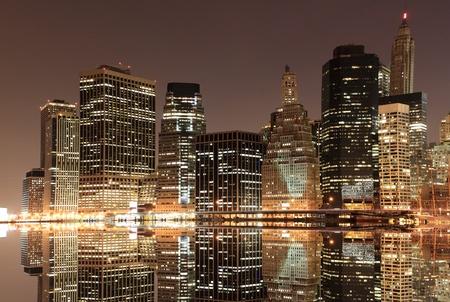View of Manhattan Skyline from Brooklyn At Night, New York City  Stock Photo - 9073828