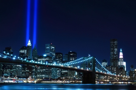 tribute: Brooklyn Brigde and the Towers of Lights at Night
