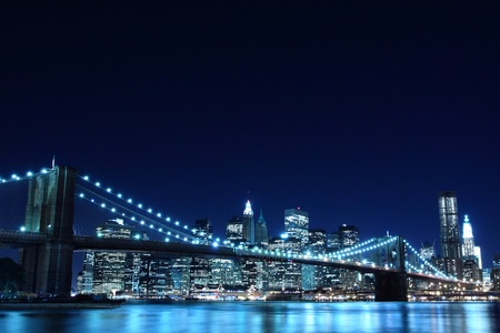 Brooklyn Bridge and Manhattan Skyline At Night, New York City  LANG_EVOIMAGES