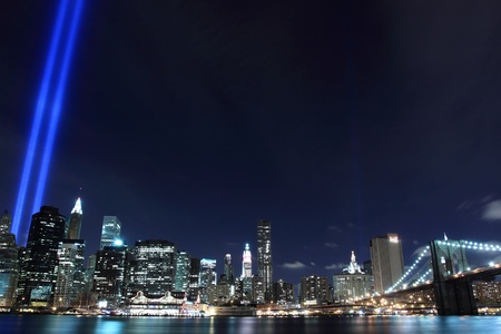 Lowers Manhattan Skyline and the Towers Of Lights at Night Stock Photo - 9256717