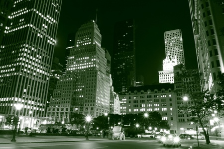 Manhattan Skyline and Central Park at Night, New York City Stock Photo - 9256721