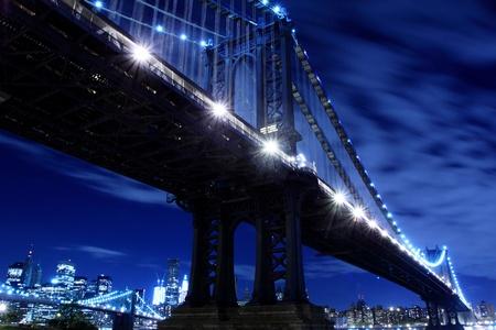 Manhattan Bridge and Manhattan skyline At Night Lights, New York City  Stock Photo - 9556453