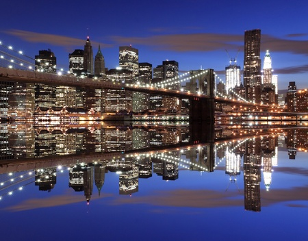 Brooklyn Bridge and Manhattan Skyline At Night, New York City Stock Photo - 9577245