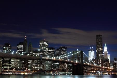 Brooklyn Bridge and Manhattan Skyline At Night, New York City Stock Photo - 9577242