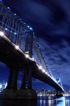 Manhattan Bridge and Manhattan skyline At Night Lights, New York City  Stock Photo - 9577246