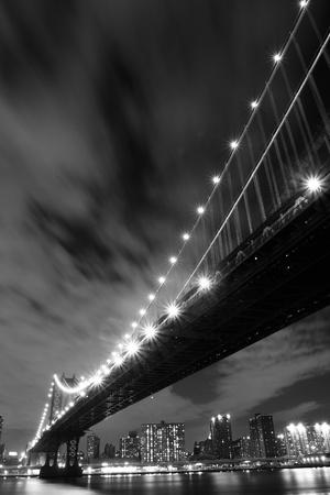 Manhattan Bridge and Manhattan skyline At Night Lights, New York City  Stock Photo - 9707895