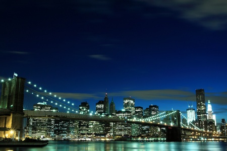Brooklyn Bridge and Manhattan Skyline At Night, New York City  Stock Photo - 9707894