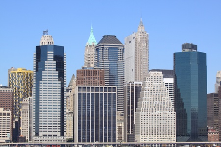 commercial dock: lower Manhattan Skyline on a clear blue day, New York City  LANG_EVOIMAGES