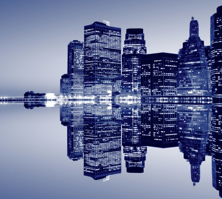 new york: New York City skyline at Night Lights, Lower Manhattan  LANG_EVOIMAGES